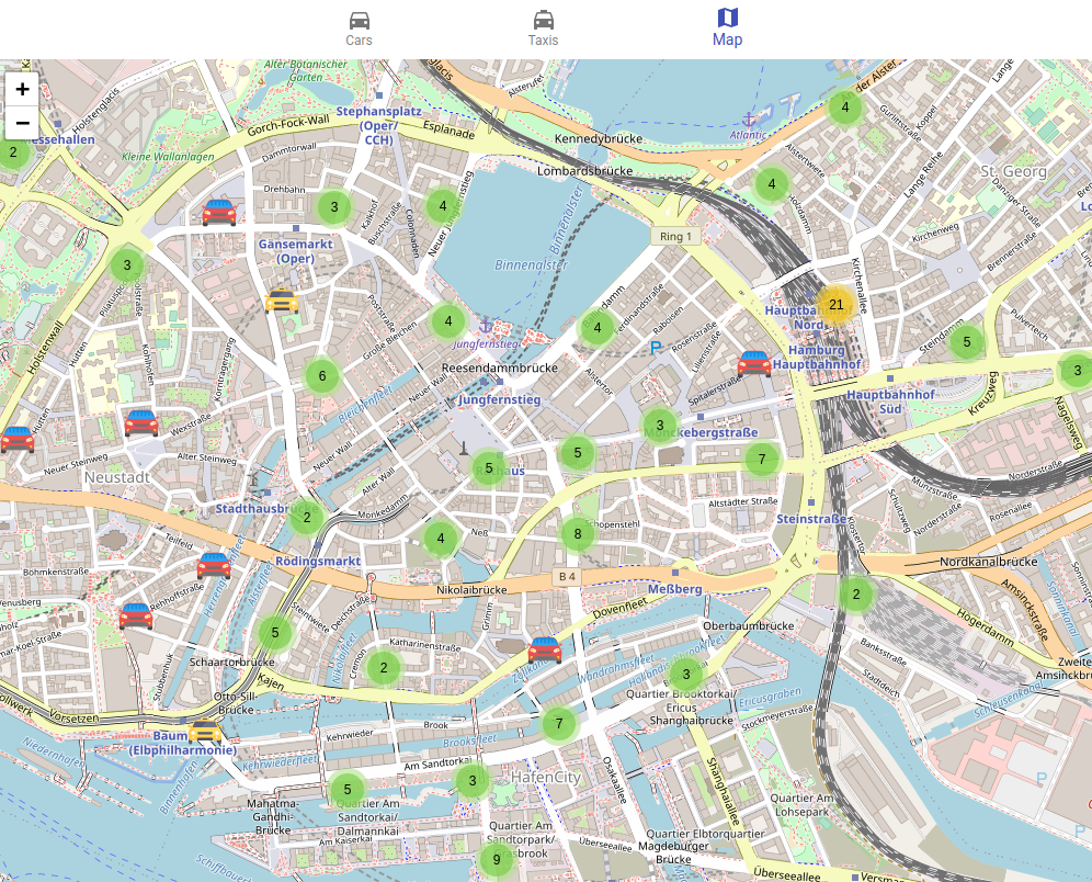 React: cars and taxis map- Featured Shot